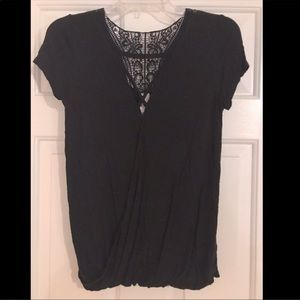Black blouse with lace back and criss cross front